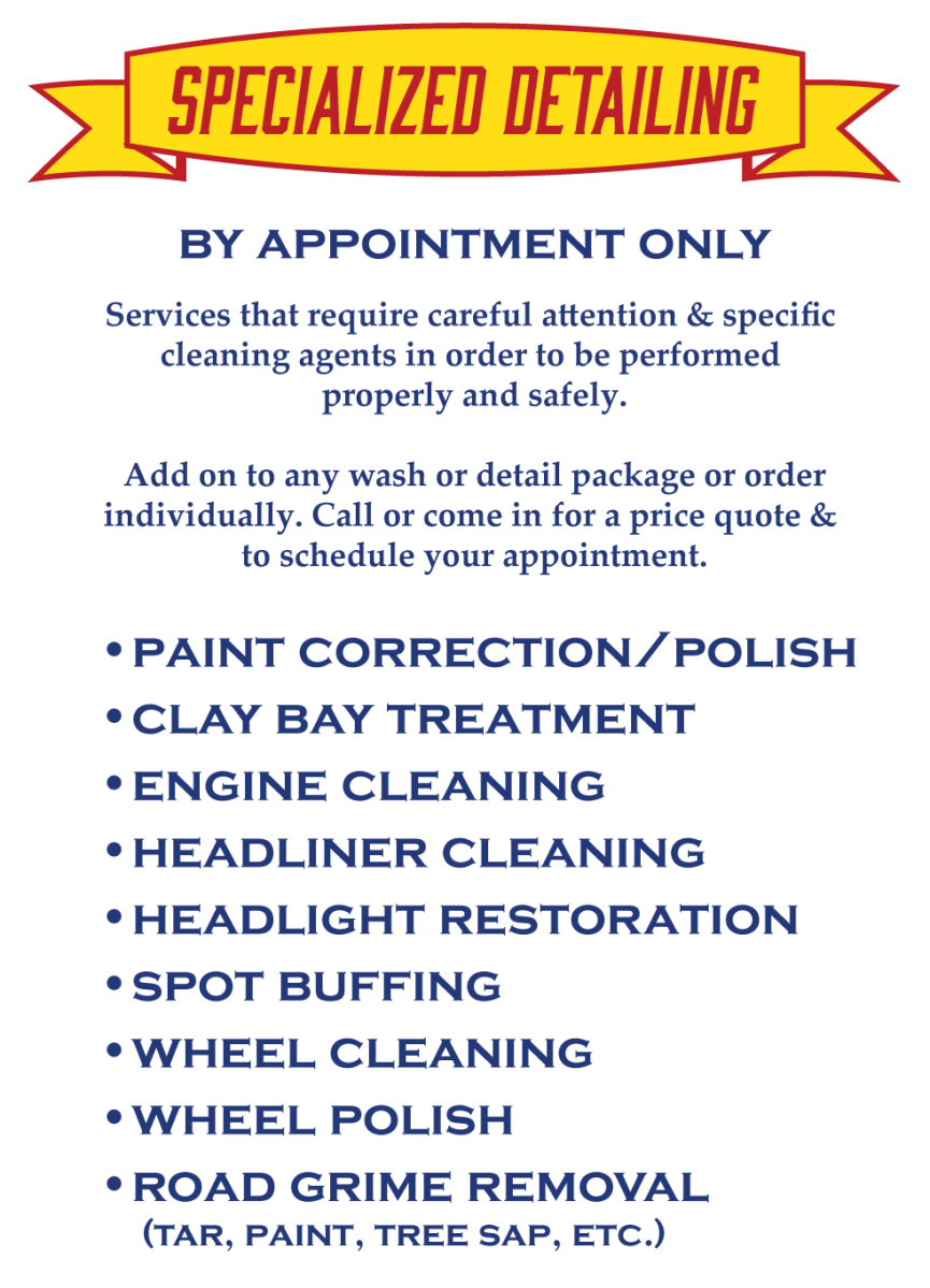 Choose your car detailing services from the list below.