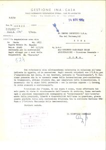 Letter from INA-Casa Management (1962)