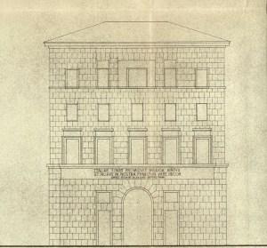 Detail of the prospectus of the building on Corso del Rinascimento, unrealised (1940 ca.)