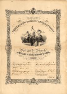 Polizza in caso di vita di Francesco Mecchia (Trieste, 1 aprile 1840)