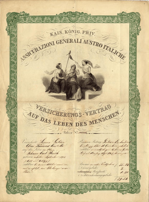 Life insurance policy (in case of death) for Johann Carl Reich (Trieste, 14 February 1839)