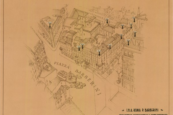 Axonometric view of Piazza Barberini (1960s)