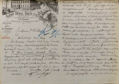 Letter from Marco Besso to Edmondo Richetti (Bologna, 1898) / ph. Duccio Zennaro