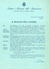 """Mario Pagano, agente ad Adua, """"Decalogo della saggezza"""" (1940)"""