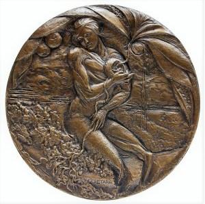 Laura Cretara, 175 anni, bronzo patinato (2006), Collezione d'arte Gruppo Generali, ph. Massimo Goina
