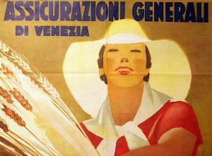 Marcello Dudovich, manifesto pubblicitario Assicurazioni Generali Venezia (1938), particolare
