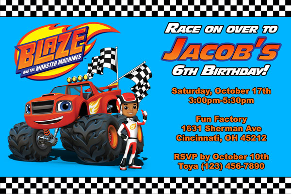 Blaze And The Monster Machines Invitations General Prints