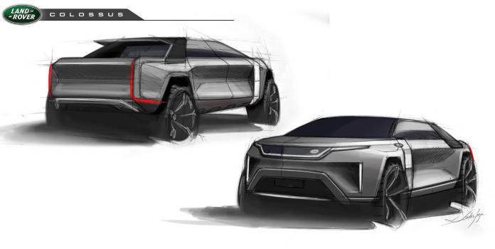 L'étude de conception de Land Rover Colossus est le mélange parfait d'un SUV et d'un Pick up alias « Truck » chez nos cousins d'Amérique.