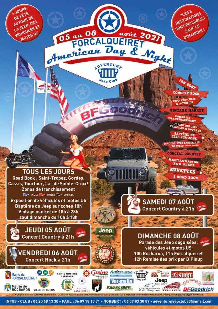 American Day & Night 2021 Du 5 au 8 août à Forcalqueiret !