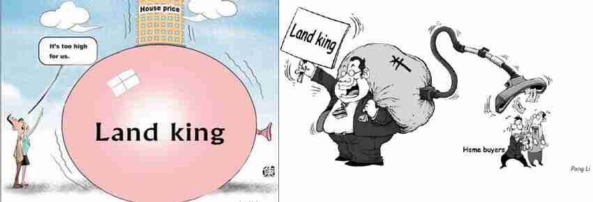 Chinese cartoons on real estate bubble <font face=Arial size=-2>(Source: Xinhua)</font>
