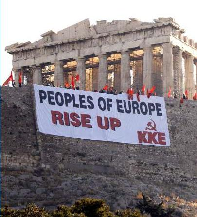 Giant banner near the Parthenon in Athens, hung by Greece's communist party