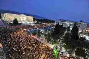 Athens protests in front of the Greek Parliament (AFP)