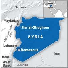 Map of Jisr al-Shughour in Syria and Yayladagi in Turkey