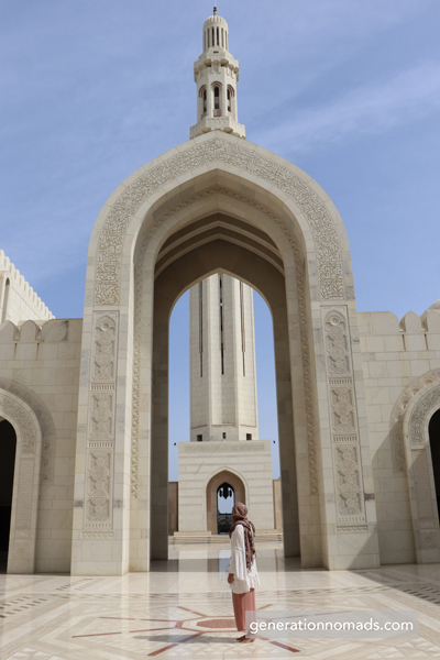 Conservative dress code for visiting Qaboos Grand Mosque