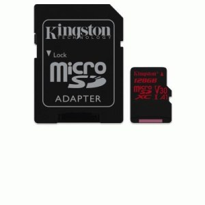 Micro Secure Digital 128gb Sdcr/128gb Class10 U3 Uhs-i V30 A1 + Adapt Read:100mb/s Write:80mb/s Canvas React Kingston
