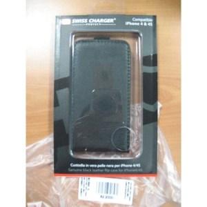 Custodia X Apple Iphone 4/4s Scp10004 Swiss Charger In Vera Pelle Nera