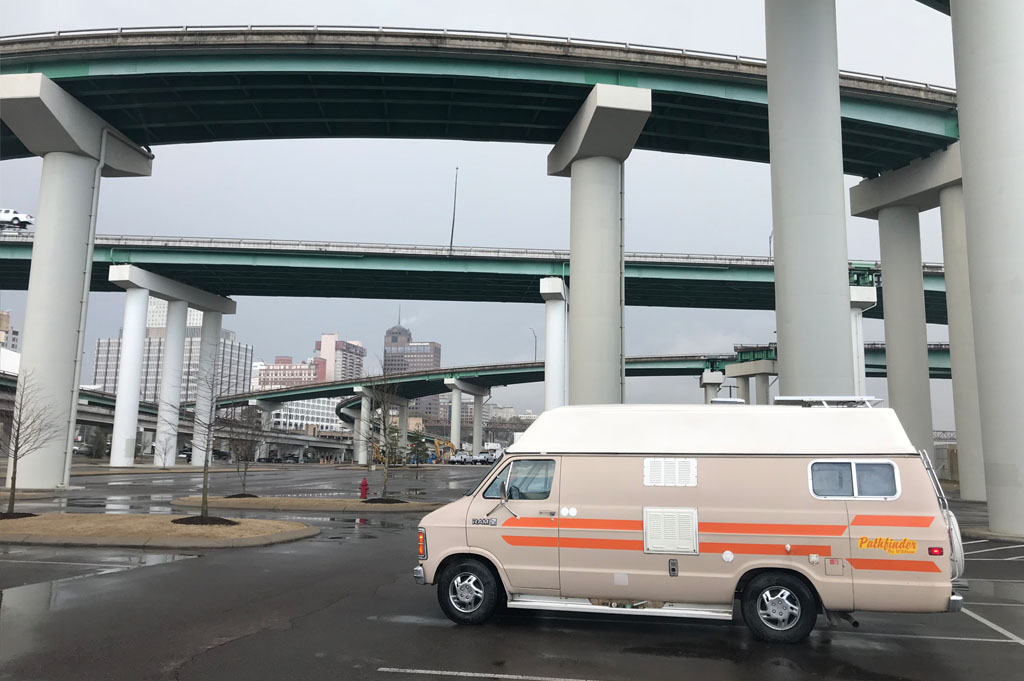 Camper van parked under bridge in Memphis
