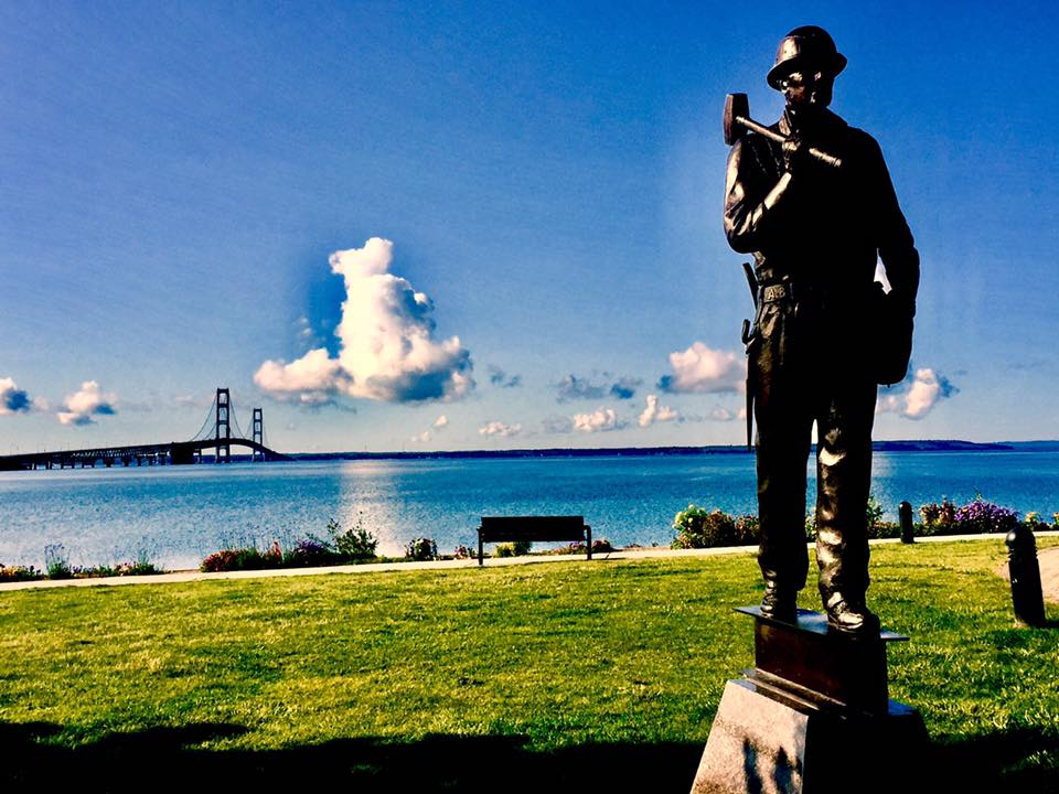 The sculpture is a composite of a typical ironworker, said the Grosse Point Park artist, typical of the men who began building the Mackinac Bridge May 7, 1954, 53 years ago.
