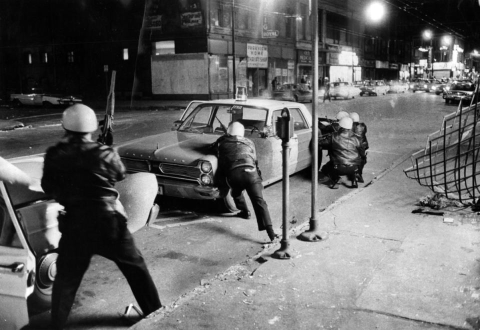 Chicago during 1968 M.L.K. riots.