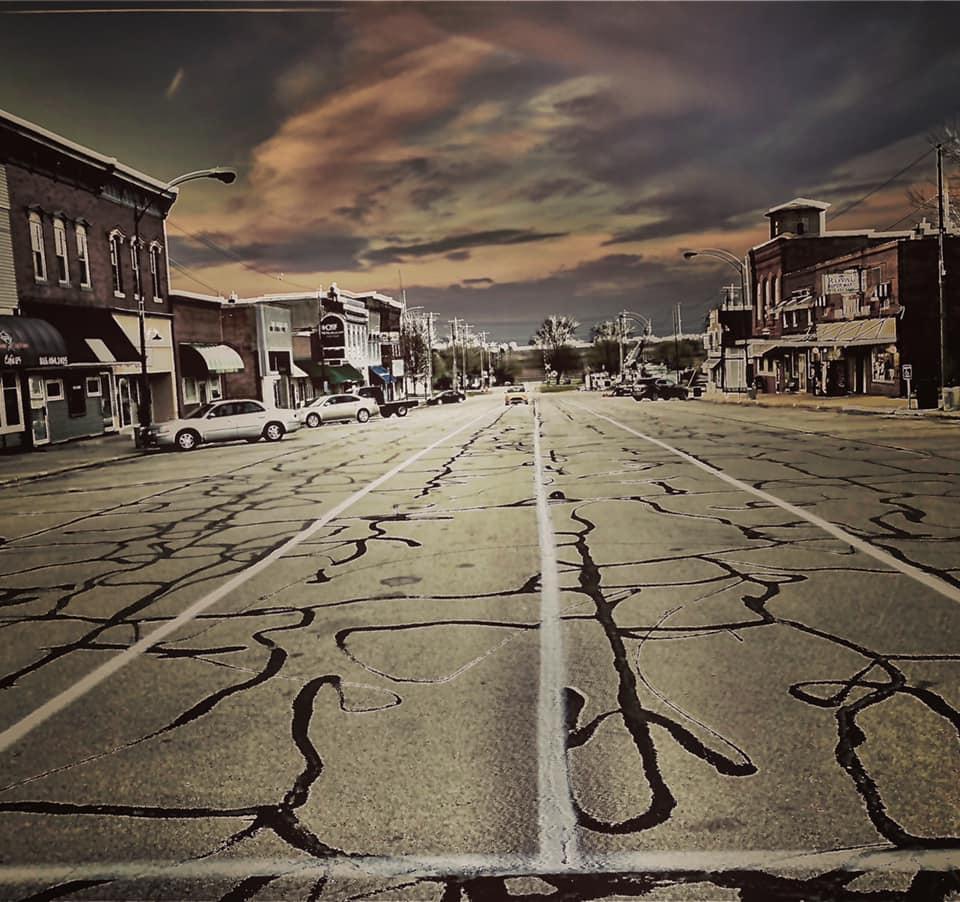 Main Street During Coronavirus Plague. 30 April 20. Sheffield, IL.