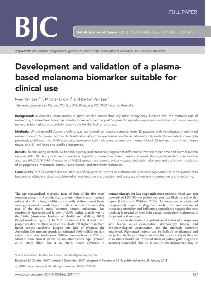 Melaseq published in the British Journal of Cancer