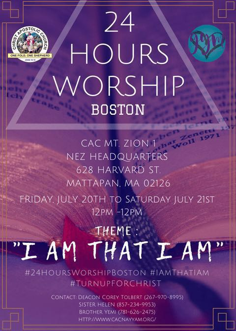 Boston 24HoursWorship2018 - 20th-21st July - 12pm