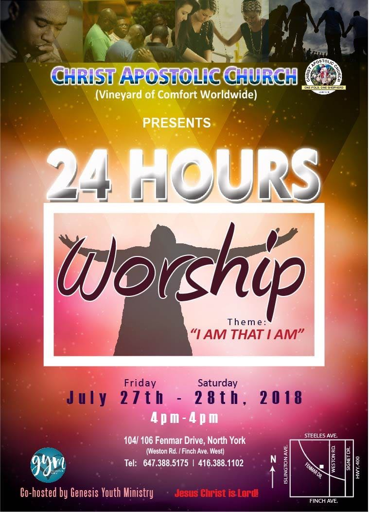 Canada 24HoursWorship2018 - 27th-28th July - 4pm