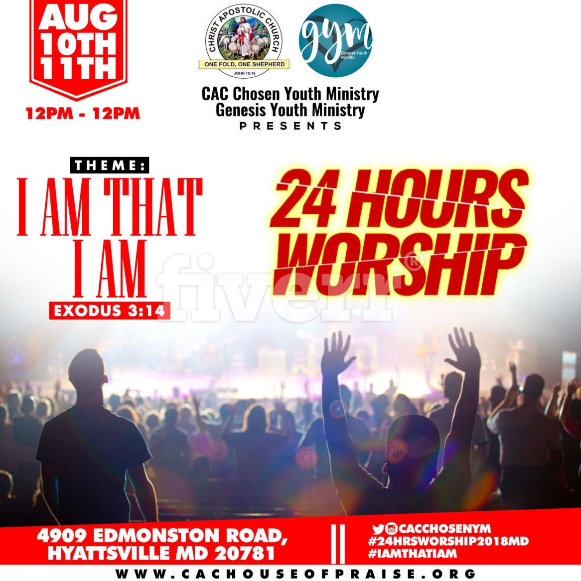 Maryland 24HoursWorship2018 - 10th-11th Aug. - 12pm