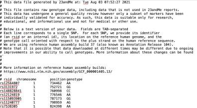 screenshot showing what the raw data file looks like