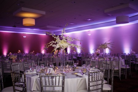 A photo of a room at the Hilton Garden Inn Cleveland East set for a reception with silver chairs and round tables set with white linens with tall white floral centerpieces and light purple and dark purple uprights against the walls.
