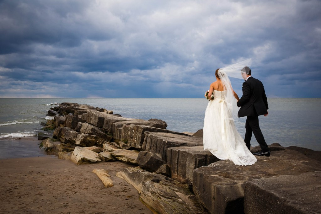 Bride and groom at Huntington Beach in Cleveland Ohio.