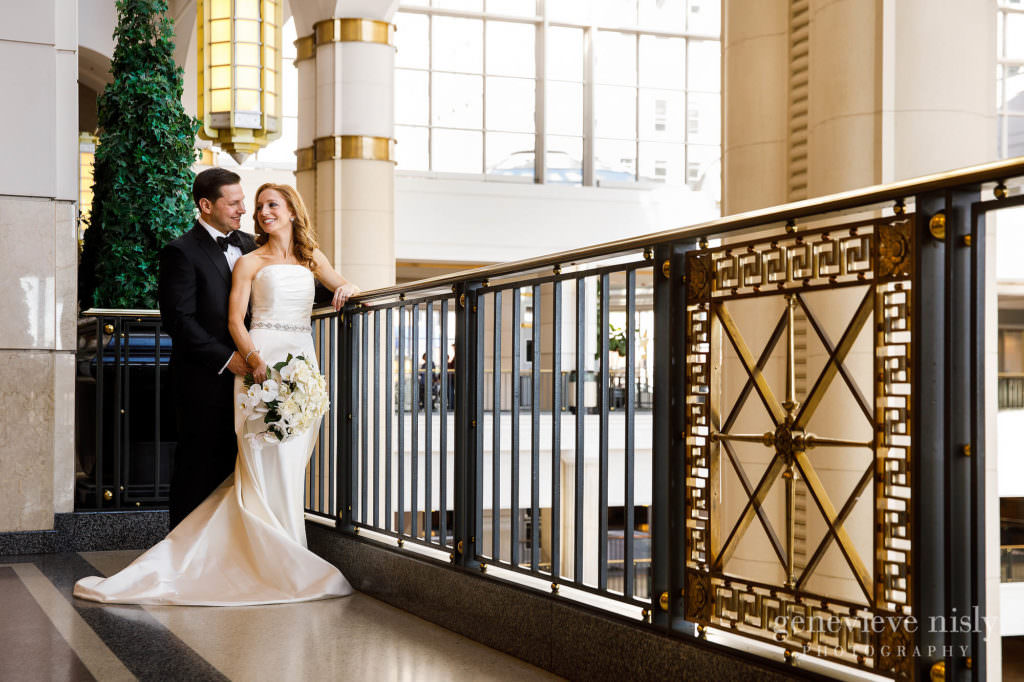 Bridal portrait near the railing at Tower City Mall in Cleveland.