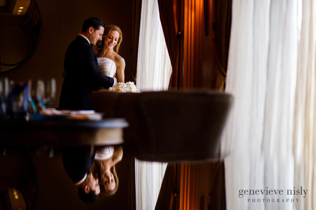Bridal portrait with a reflection at the Ritz Carlton in Cleveland.