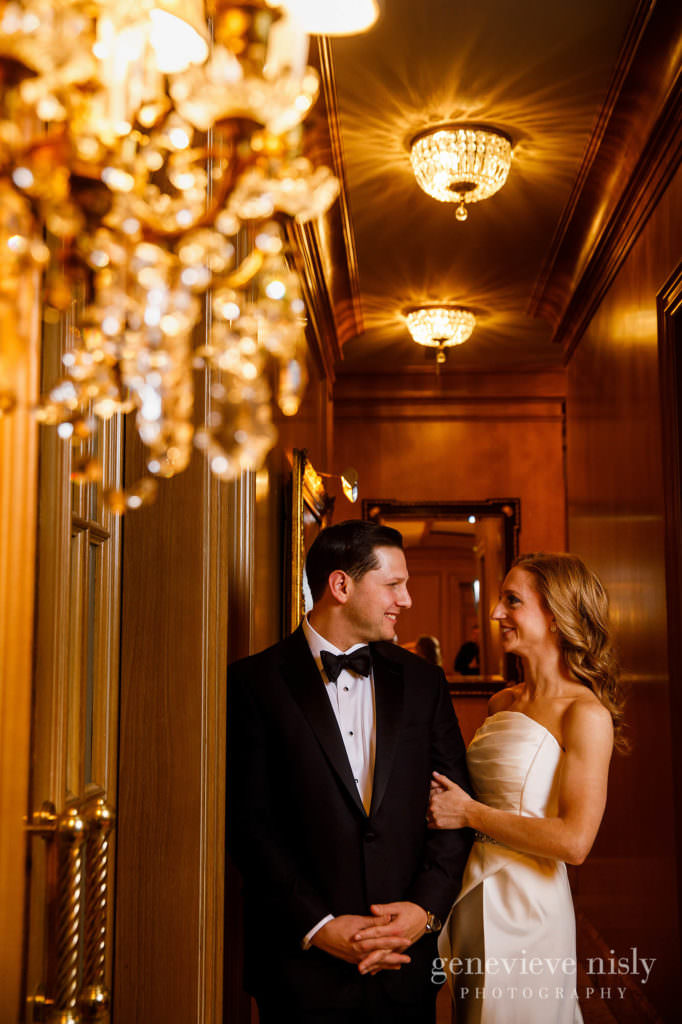 Portrait of the bride and groom in lobby of the Ritz Carlton.