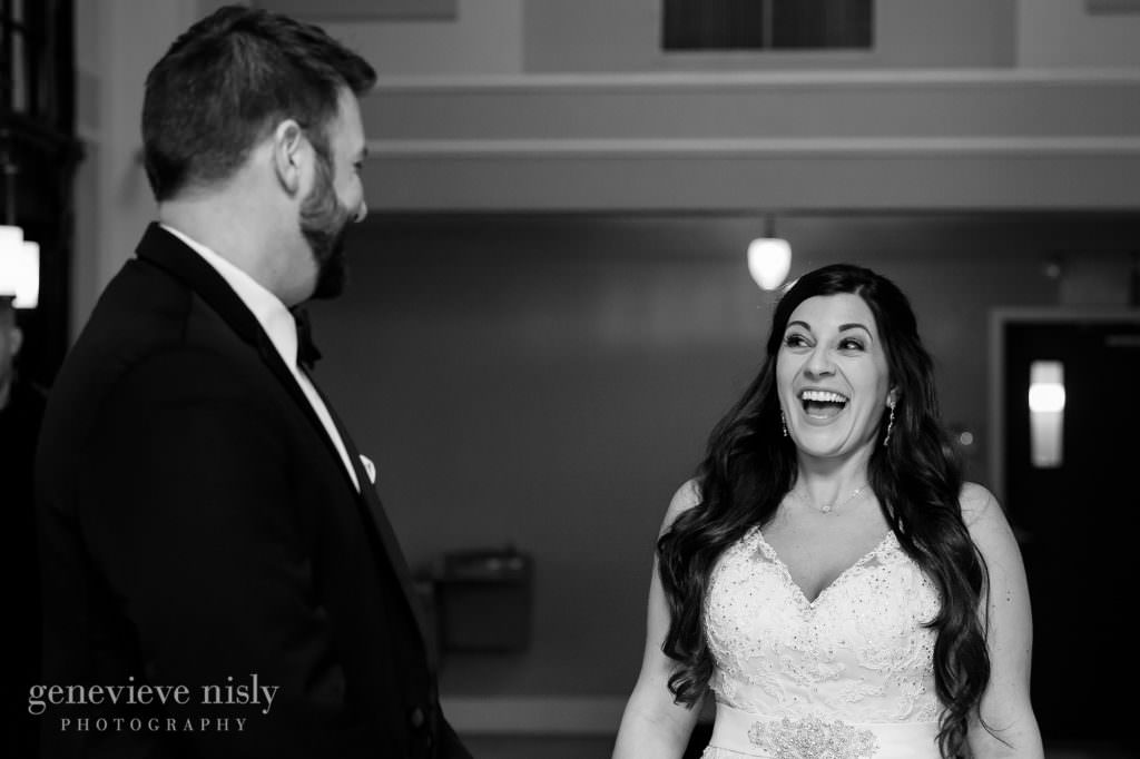 Bride reacts to seeing her groom for the first time.