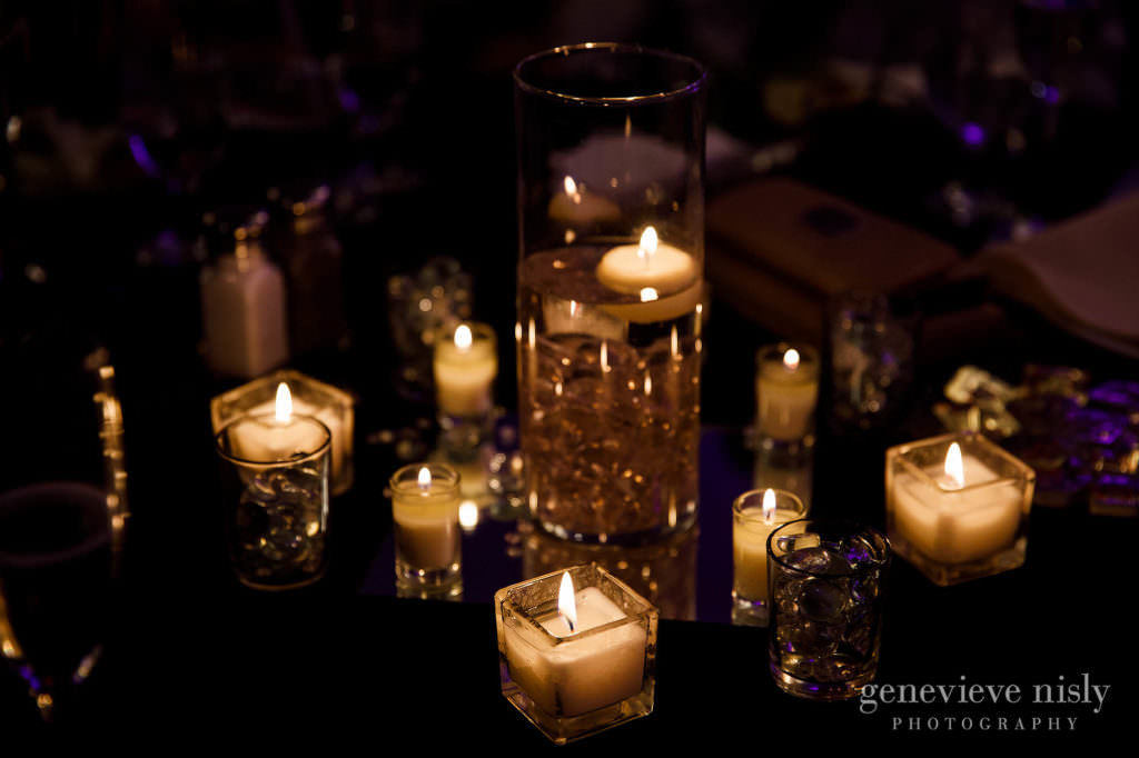 Candles are a beautiful wedding centerpiece at the Cleveland Holiday Inn.
