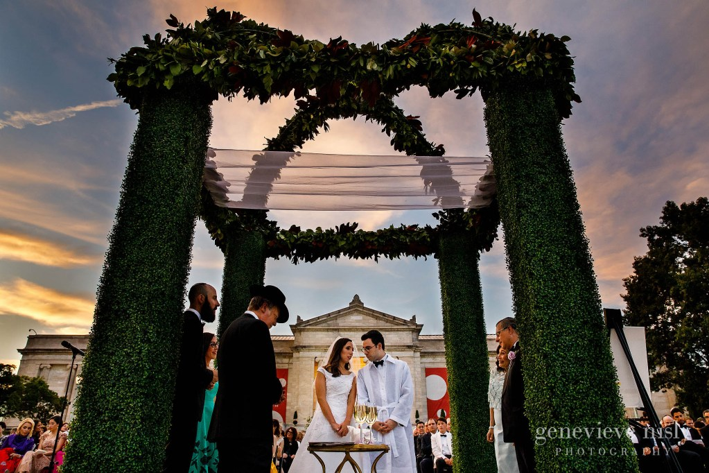 Max and Dara under their Chuppah during their wedding reception on the South Terrace at the Cleveland Museum of Art