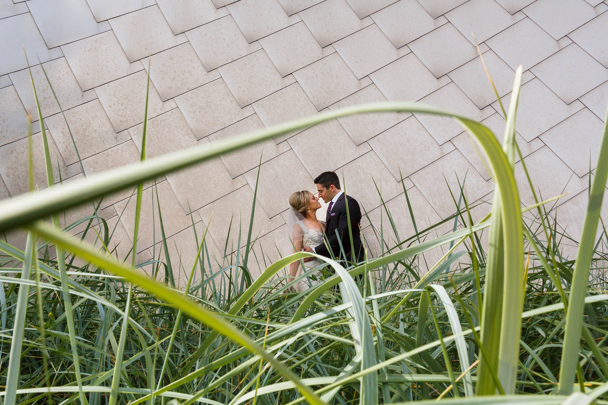 Newlyweds standing in each other's arms shot though blades of grass on the grounds of the Peter B. Lewis building designed by Frank Gehry in Downtown Cleveland, Ohio.