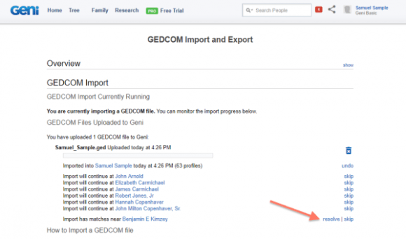 The Return of GEDCOM Imports on Geni
