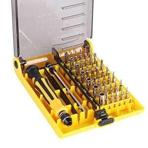 KYG Torx Kit Tournevis 45 en 1 T3 T5 T7 Interchangeables Tournevis Tools Précises Pour L'électrique, Téléphone Mobile, DVD, TV, Ordinateur (Jaune)