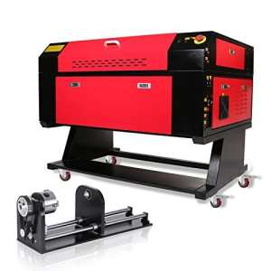 LuiFure Laser Gravure Machine Laser à Graver Laser Engraving Machine Rotary AXIS 60W for Arts and Crafts with 80MM 3 JAW Rotary Attachment (60W+Rotary AXIS)