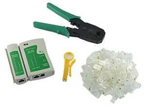 MyArmor Testeur de câble + pince à sertir + 100 Rj45 Cat5 Cat5e connecteur Plug réseau ensemble d'outils de sertissage