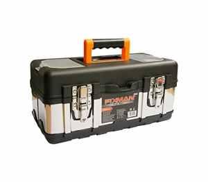 Caisse à outils en plastique et métal, mallette de rangement pour outils, casier de rangement pour outils, valise à outils, boîte à outil – 20 L
