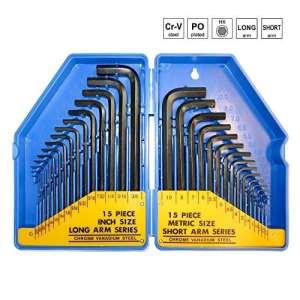 S&R Clé Allen ensemble HX, 30 pcs. 0,7 10 mm, mm et 0,028 à 3/8, pouces, dans une boîte en plastique