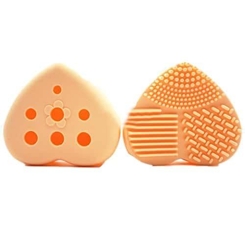 Tianya Filtre 1pièce Coque en silicone en forme de cœur creux dehors Maquillage Pinceaux cosmétiques Outil de nettoyage à brosse Scrubber support, Orange, Taille unique