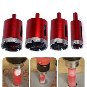Hakkin 4 Pcs 25/40/45 / 50mm Scie Cloche Diamant Foret Coated Core Metal Hole Saw Drill Bits Pour Coupe de Granit en Verre de Marbre en Tuiles