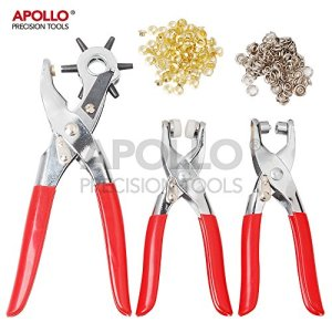 Apollo Precision Tools 3Piece Leather Hole Punch and Eylet Pliers Set