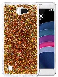 LG X5 Coque, LG X Max, Nnopbeclik® Soft/Doux Silicone Transparente «paillette brillant» Backcover Housse (5.5 Pouces) Antiglisse Anti-Scratch Etui – [Or]