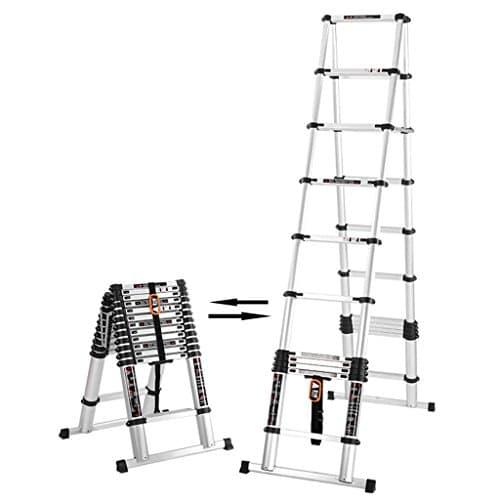HWF Échelles télescopiques 4.9M + 4.9M Échelle télescopique Herringbone En alliage d'aluminium Fold Escalier Grenier Génie Maison