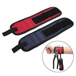 niceEshop(TM) Kit de 2 Pcs Bracelet Magnétique avec des Aimants Forts pour les Vis, les Clous, les Trépans de Forage, L'Epingles, les Boulons – Idéal Cadeau pour Père Ou Mari (Rouge et Bleu)